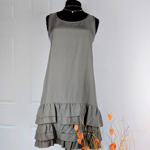 🆕 GAP Gray Sleeveless Ruffle Dress Sz M